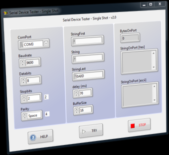 screenshot of serial device tester