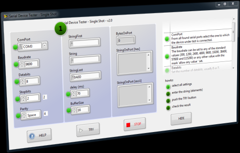 screenshot of the serial device tester with the help system activated